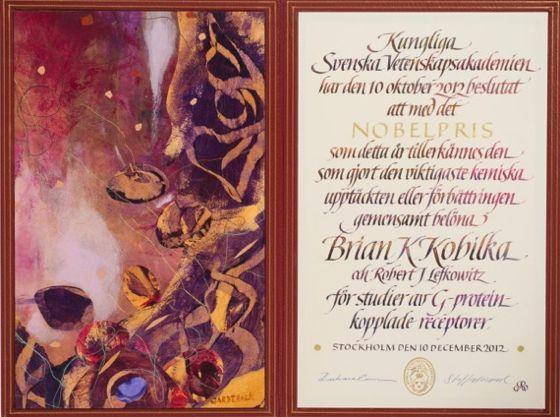 دیپلم نوبل فیزیولوژی/پزشکی ۲۰۱۲  برایان کوبیلکا از دانشگاه  استانفورد